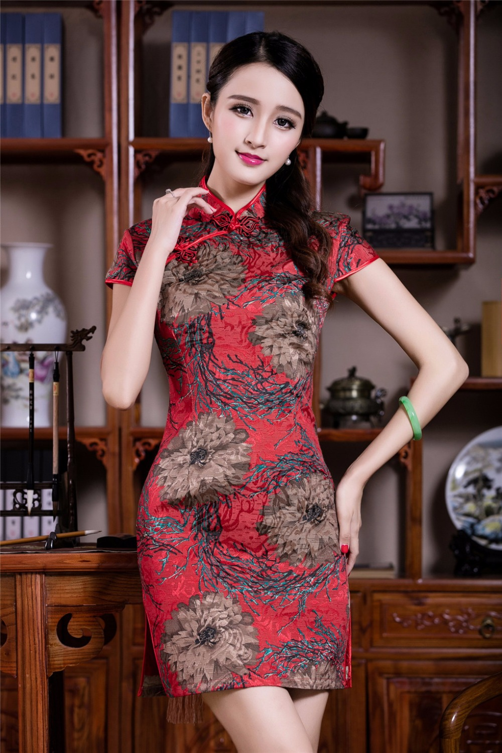 Shanghai story china qipao dress red color cheongsam for Chinese style wedding dress