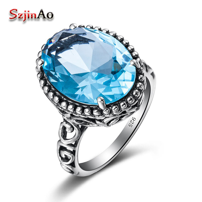 Szjinao European Wedding Rings for Women Vintage Hollow Out Sky Bule Aquamarine 925 Sterling Silver Jewelry Wholesale