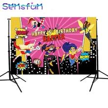 sxy1388 Super Girls camera fotografica Building Wonder Women Backdrop Girls Birthday Party Backgrounds For Photo Studio 7x5FT