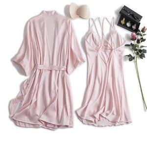Image 1 - MECHCITIZ silk robe femme sexy gown set summer women bathrobe lingerie mini dress lounge set sleepwear bridesmaid wedding robes