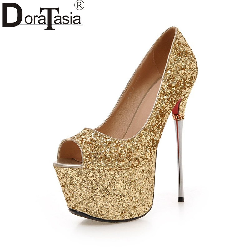 DoraTasia New Big Size 32-43 Peep Toe Summer Party Shoes Women Sexy 16cm Thin High Heels Bling Upper Pumps Shoes doratasia embroidery big size 33 43 pointed toe women shoes woman sexy thin high heels brand pumps party nightclub
