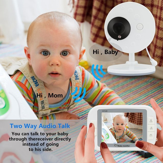 babykam baby monitor with camera 3.5 inch IR Night Vision Temperature Sensor Lullabies intercom baby monitors video nanny camera 2