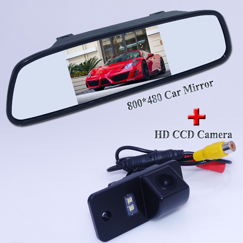 цена на 5 wide lcd screen wire car mirror monitor 800*480+okriginal auto car reversing camera 2 in 1 for Audi A3 A4 A6 A8 Q5 Q7 A6L