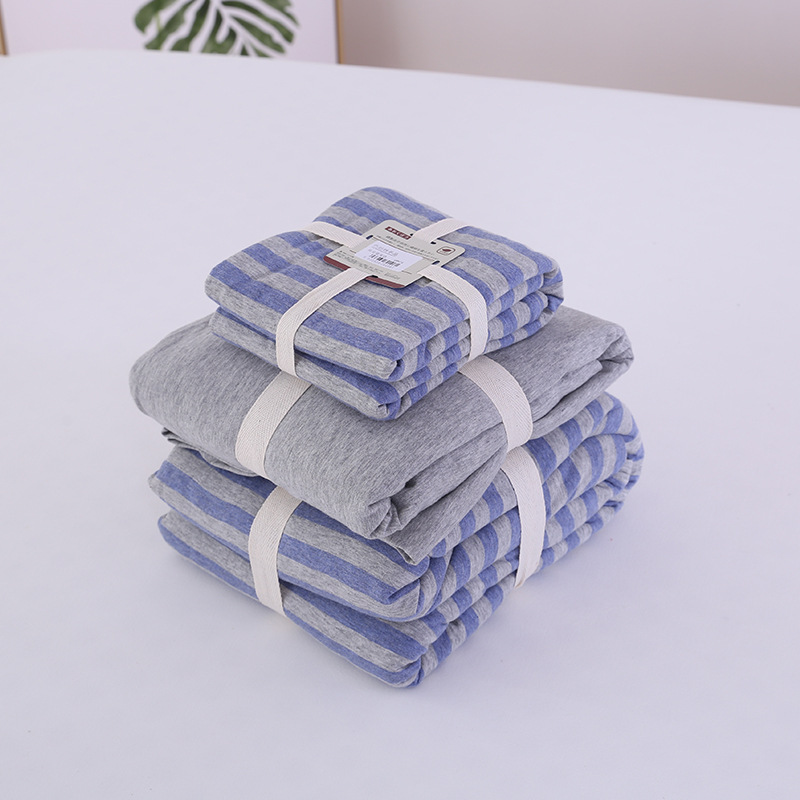 Quality  4pcs Fitted Sheet Quilt Duvet Cover Pillowcase Pillow Sham Bedding Set 100% Cotton Jersey Gray Blue Strip|Bedding Sets|Home & Garden - title=