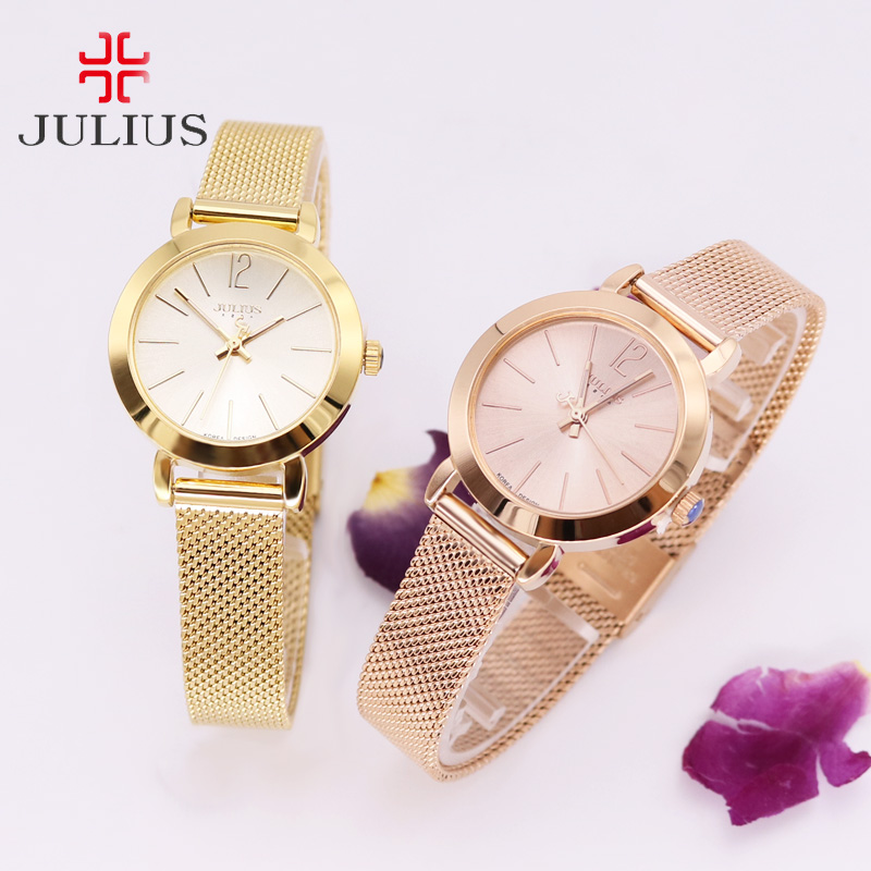 Top Golden Women's Watch Japan Quartz Hours Fine Fashion Clock Bracelet Stainless Steel Simple Birthday Girl Gift Julius new simple cutting glass women s watch japan quartz hours fashion dress stainless steel bracelet birthday girl gift julius box