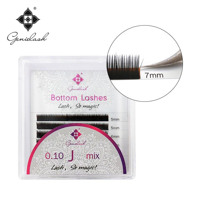 Genie 1pcs/Lot Bottom Eyelash Extensions J Curl 5 6 7mm For Under False Eyelash Extension Individual Professional Use Only