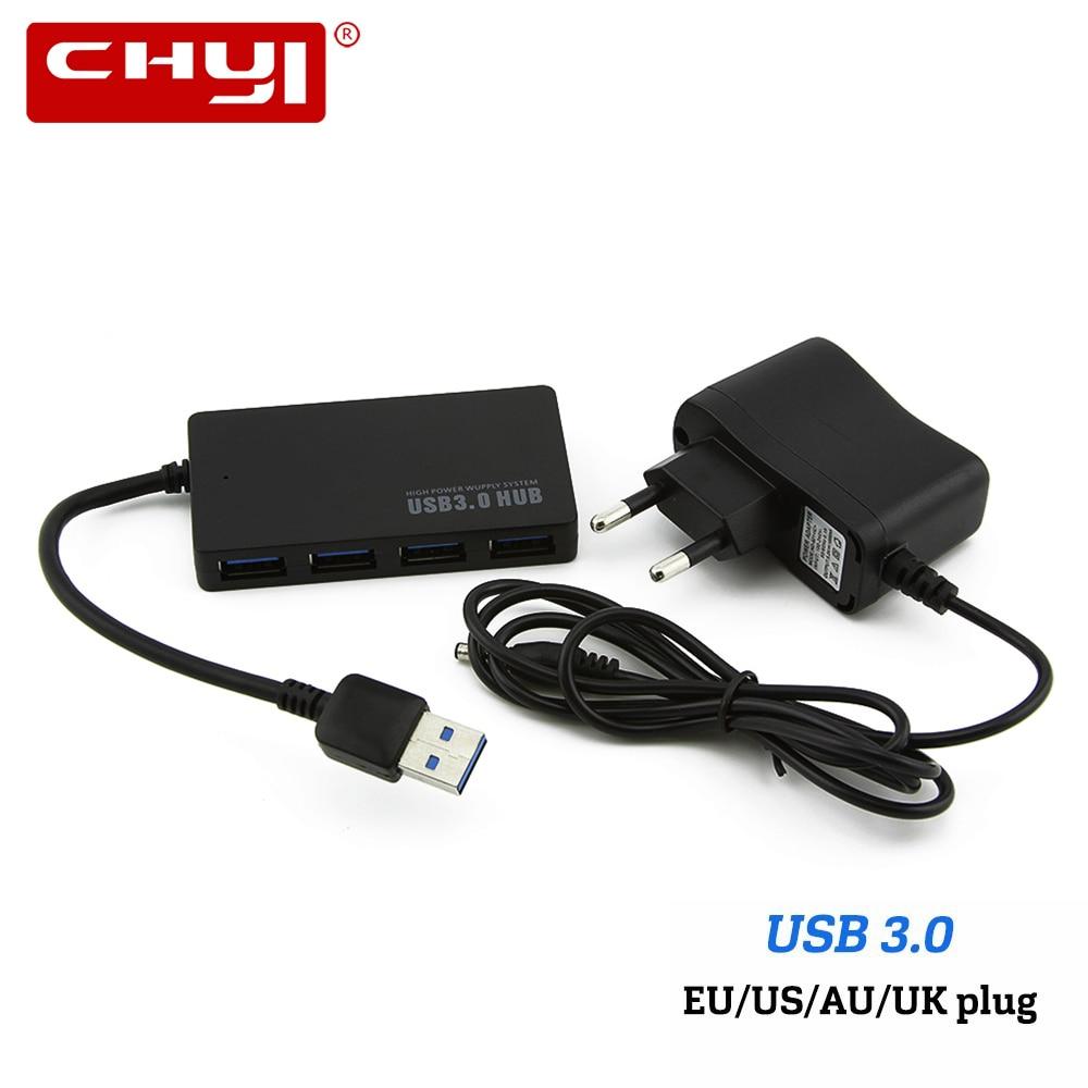 CHYI Super Vitesse USB3.0 Hub 4 Port USB Hub 3.0 Ultra Slim USB Splitter UA/UE/ÉTATS-UNIS/ROYAUME-UNI Adaptateur D'alimentation Externe Pour PC Portable Ordinateur