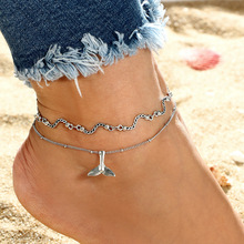 Minimalist Dolphin Tail Anklets Bracelets Multi Layer Fashion Silver Color Chain For Female Party Gift