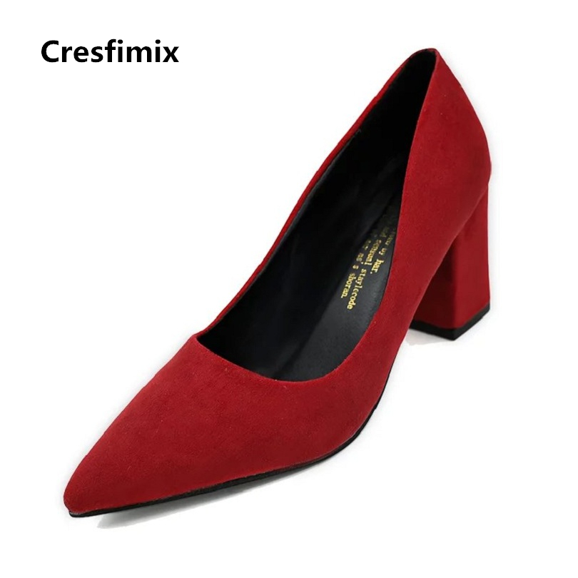 Cresfimix women cute pu leather high heel shoes lady spring & summer pointed toe slip on shoes female office high heel pumps baiclothing women casual pointed toe flat shoes lady cool spring pu leather flats female white office shoes sapatos femininos