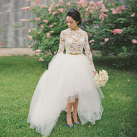 2016 Dreamy Pure White Long Bridal Skirts High Low Sweep Train Garden Wedding Party Tulle Ball Gown Skirts Maxi Women Saia