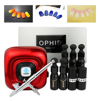 OPHIR Nail Art Airbrush Kit with Nail Dryer UV Lamp Nail Gel Polish Base Coat & Top Coat Metal Stencil Manicure Tools _OP NA003R