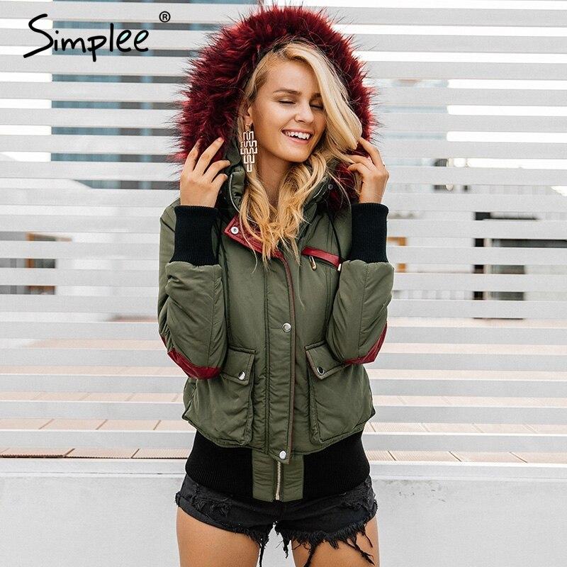 Simplee капюшоном утепленная парка зимняя куртка женские пальто Мех животных теплые карман на молнии зимние пальто зимняя одежда утепленная к...