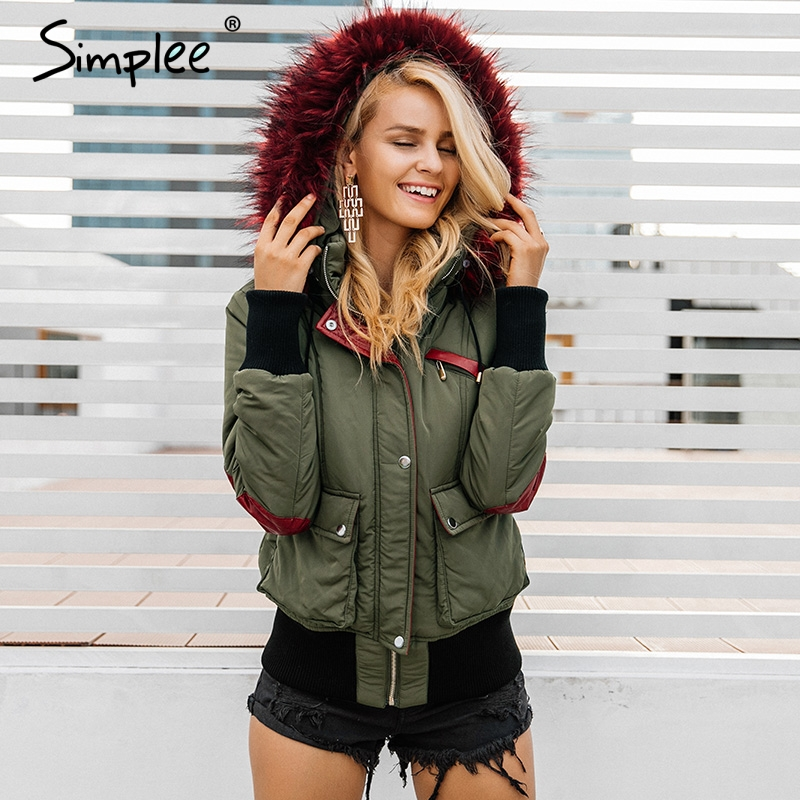 Simplee Hood padded parka winter jacket women coat Fur warm pocket zipper winter overcoat Snow wear thick jacket coat female