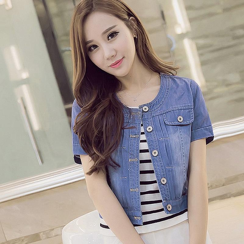 New Spring Summer 2016 Plus Size 3XL Vintage Cropped Denim Jacket Short short-Sleeve Cardigan Coat Jeans Jacket Women