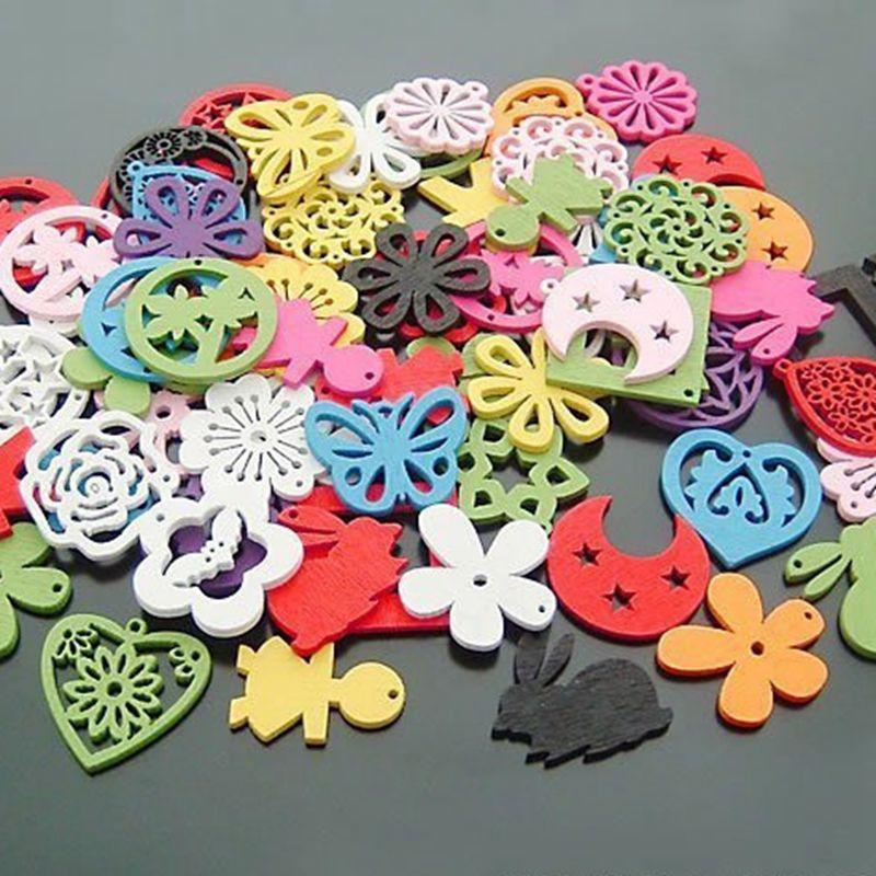 Fashion 100pcs/lot Blend  Shape Mixed Color Wooden Beads Suitable for earrings pendants about 25MM 017027007