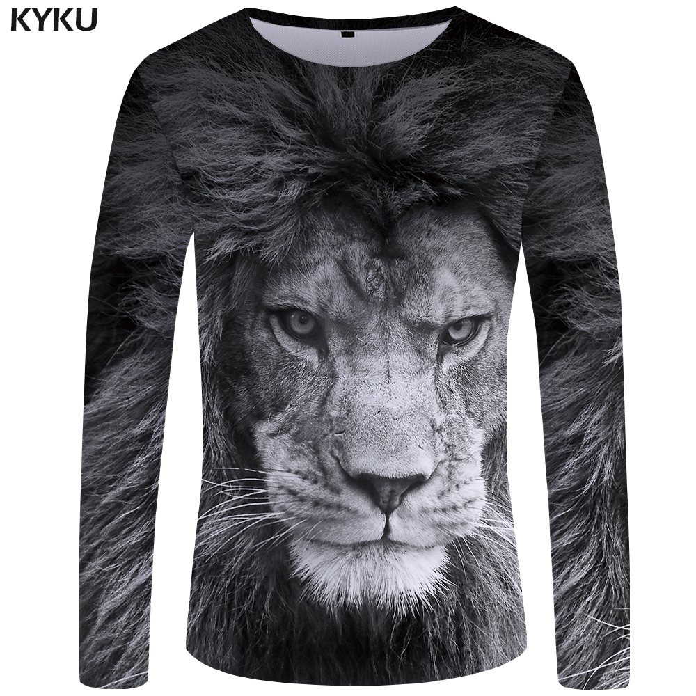 KYKU Lion T shirt Men Long sleeve Gray Cool Animal 3d T-shirt Clothes Punk Streetwear Mens Clothing New S-XXXXXL