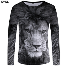 KYKU Lion T shirt Men Long sleeve shirt Gray Cool Animal 3d T-shirt Clothes Punk Streetwear Mens Clothing New S-XXXXXL