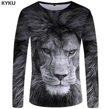 Kyku lion camiseta masculina de manga longa, cinza, animais legais, 3d, punk streetwear, roupas masculinas, novo S-XXXXXL