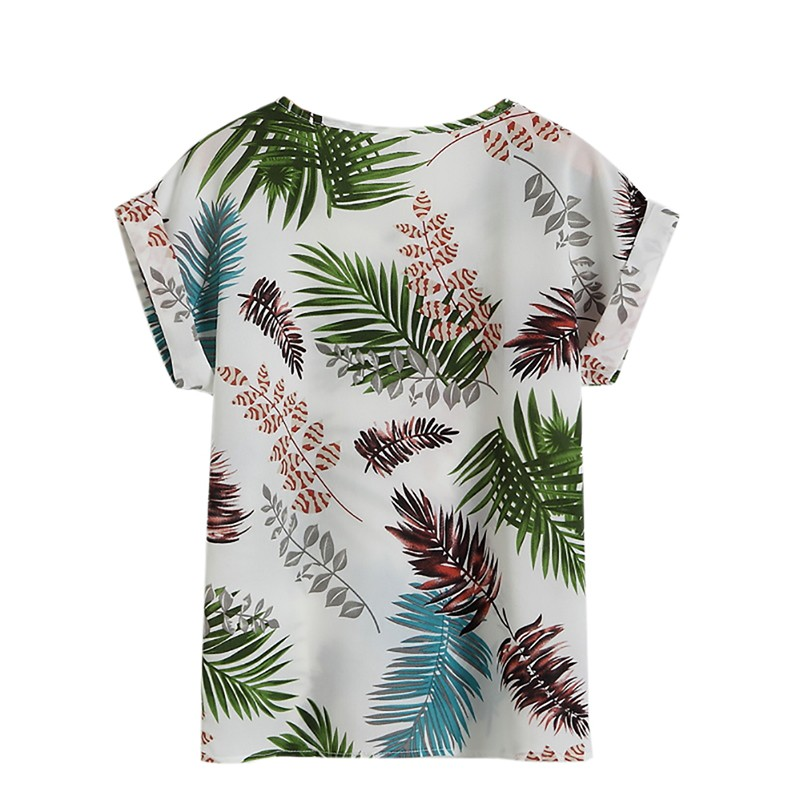 Hot Summer Women's Casual   Blouse     Shirt   Floral Chiffon Print O Neck Short Sleeve Lady's Top Loose Blusas L-4XL