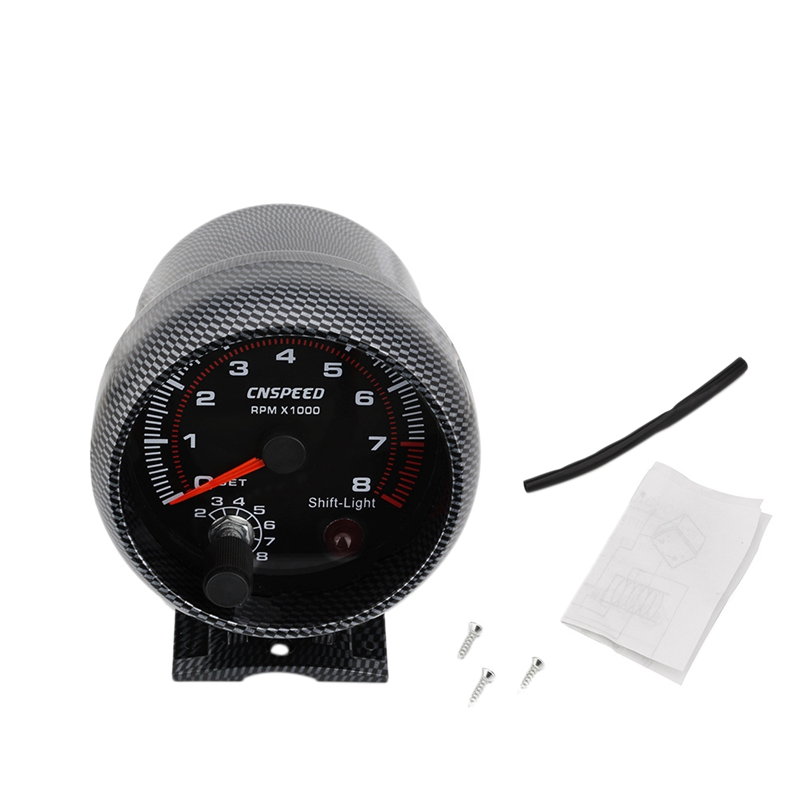 12V 3.75 inch 90Mm Car Modification Meter Tachometer Black Surface Carbon Fiber with Replacement Displacement Lamp 4 6 8 Cylin