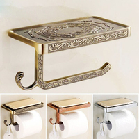 1pc Retro Metal Toilet Roll Paper Rack with Phone Shelf Bathroom Shelves Antique Carving Wall Mounted Bathroom Paper Holder Hook