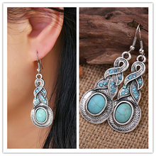 1 Pair Charming unique design tibetan silver earring with turquoise and blue crystal vintage hoop earrings for women jewelry Hot pair of stylish faux crystal hoop earrings for women