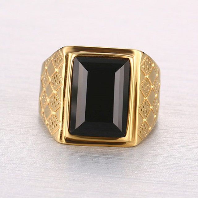 line Shop Stone Ring for Men Male Black Stone Ring Quality