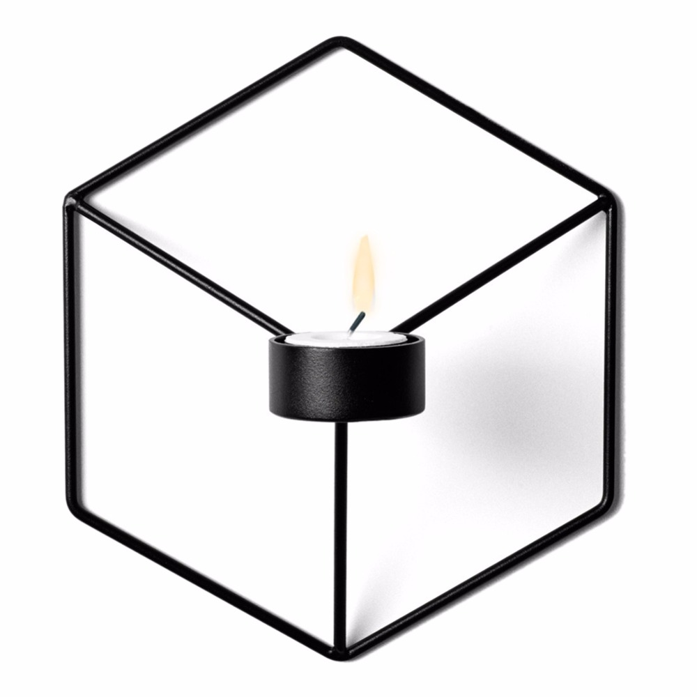 Wall Candle Holder Shelf 3D Geometric Iron Metal Sconce ... on Metal Candle Holders For Wall id=79566
