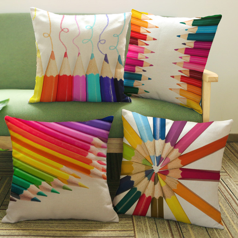 Geometric style Cotton Linen Pillowcase Colorful pens Decorative Pillows covers Cushion  ...