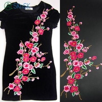 1pcs/lot clothes applique sewing fabric peach plum flower cloth classical DIY dress decoration embroidered patches