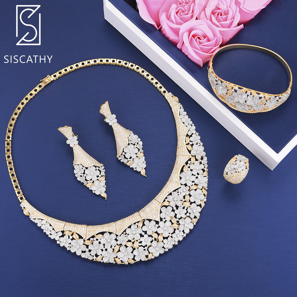 Siscathy 4PCS Trendy Cubic Zirconia Necklace Earrings Bracelet Bangle Resizable Ring Luxury Jewelry Sets parure bijoux femmeSiscathy 4PCS Trendy Cubic Zirconia Necklace Earrings Bracelet Bangle Resizable Ring Luxury Jewelry Sets parure bijoux femme