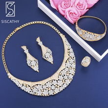 Siscathy 4PCS Trendy Cubic Zirconia Necklace Earrings Bracelet Bangle Resizable Ring Luxury Jewelry Sets parure bijoux femme