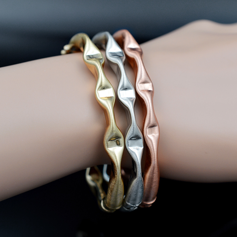 Sunny Jewelry Trendy Jewelry Dubai Copper Open Cuff Bangles Bracelets Fairy Water Wave Twisted String For Women Girls Daily Wear
