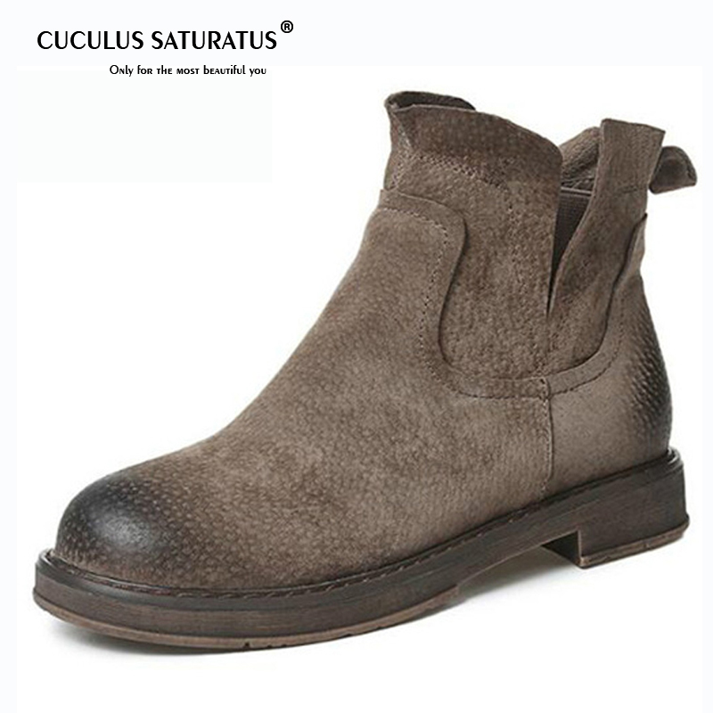Cuculus Genuine Leather Women Boots Winter Warm Flats Heel Plus Size Short Martin Ankle Boots Brand Females Casual Shoes 1765