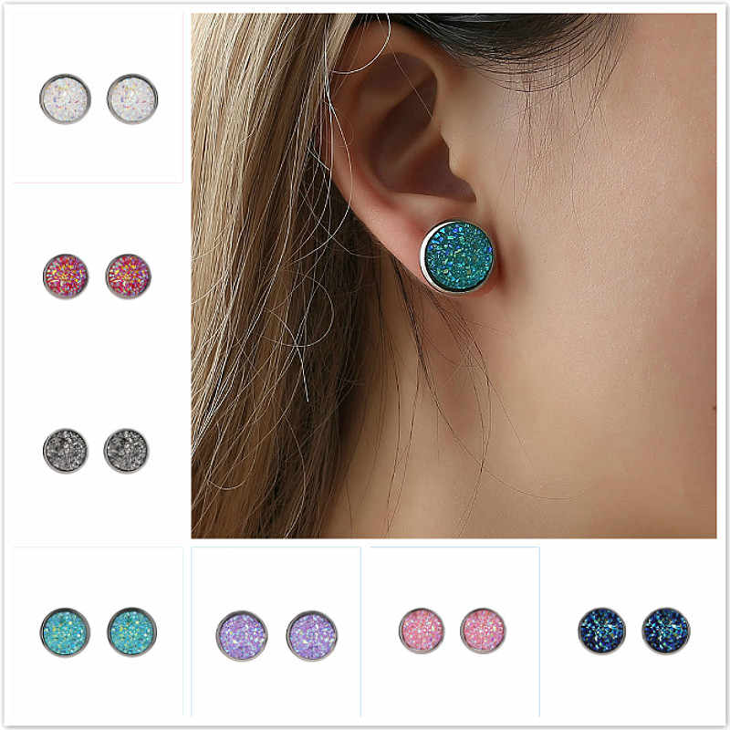 New Crystal Shine Ear Hoop Earrings For Women 10 Colors Round With Cubic Zircon Charm Flower Earrings