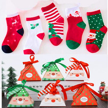 6Pairs / Lot Christmas Childrens Gift Box Socks Thick Cute Baby Cartoon Breathable Stripes