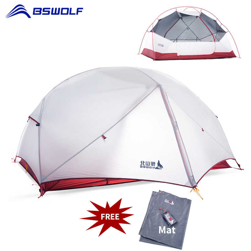 BSWolf 3 ฤดู Ultralight Camping เต็นท์ 2 คน 20D ไนลอนผ้ากันน้ำ Double Layer Backpacking เต็นท์ฟรี