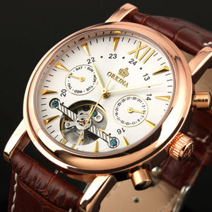 Image 2 - ORKINA Classic Day Date Calendar Automatic  Tourbillon Brown Leather Strap Analog Mens Mechanical Watch Rose Gold Montre Homme