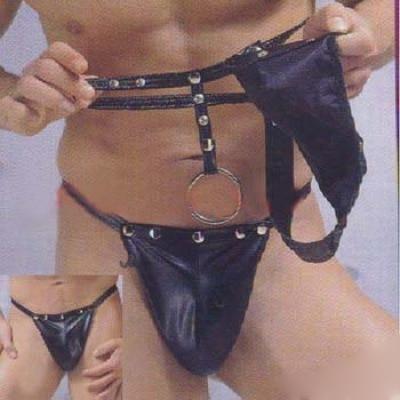 Men Sexy Jockstraps  New Gay Underwears Erotic Men Temptation Sexy Pu Leather Thongs Jocks Straps Black Lingerie G-string