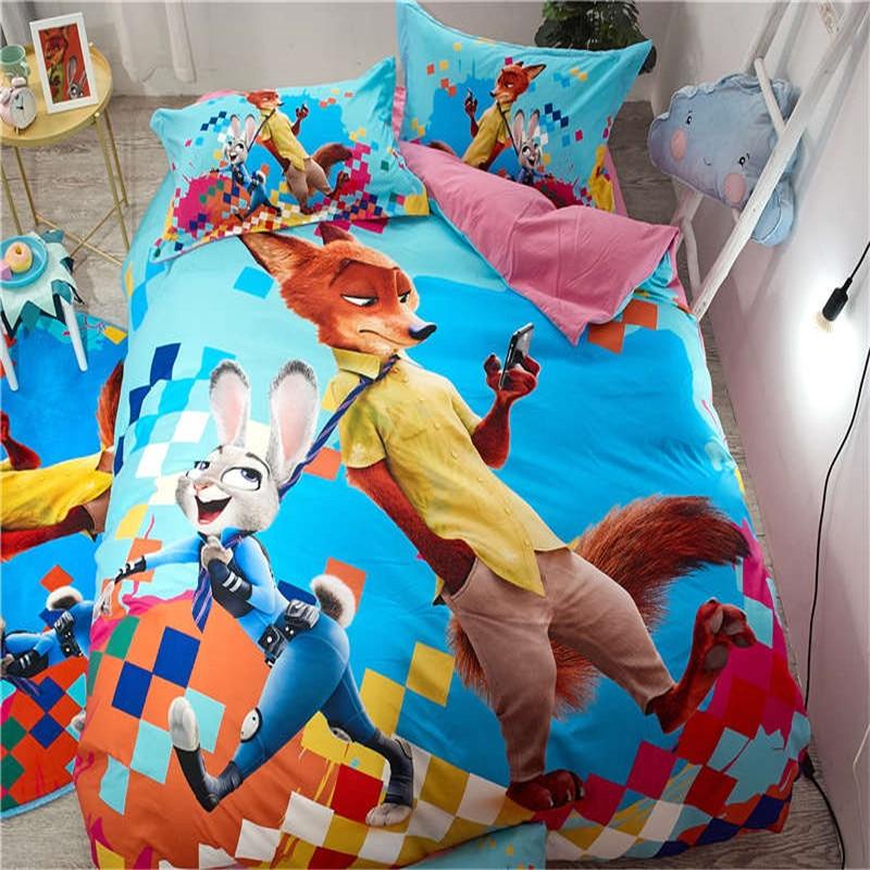 Zootopia bed linens cartoon rabbit Judy fox Nick Print Bedding Sets soft sanding Children Bedroom 600TC Cotton bedspreads queen