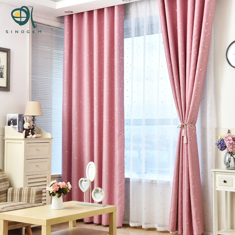 sinogem estrella cortinas para la sala de tela de color rosa cortina de la historieta embroma