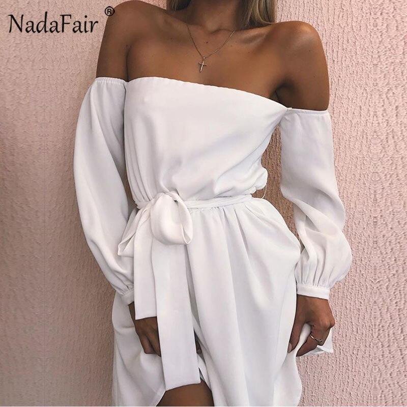 Nadafair de manga larga hombro Casual vestido de mujer arco sin tirantes con cuello Sexy vestido