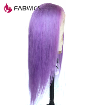 Fabwigs Purple Lace Front Human Hair Wigs Pre Plucked Transparent Lace Front Wigs Brazilian Remy Lace Wigs Light Purple