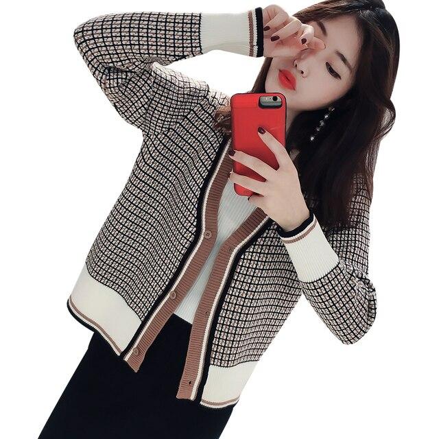 2019 חדש אביב חורף נשים סוודרים מעילים קוריאני סגנון V-צוואר משובץ אופנה צמר סריגי גבירותיי 2 צבעים סוודר