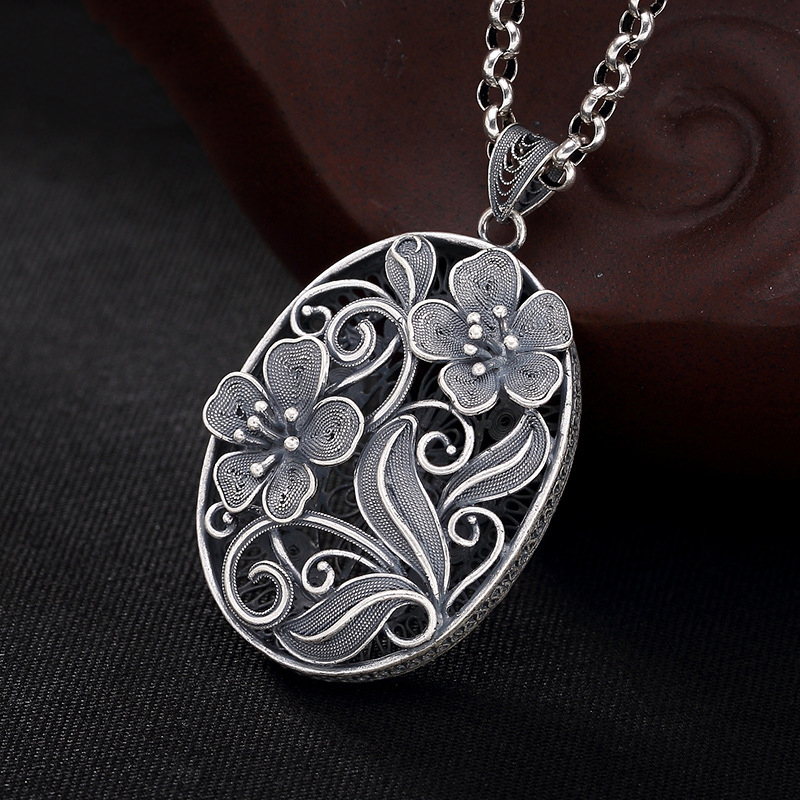Plum Flower 925 Sterling Silver Diy Pendant Charms Women Costume Jewelry Fit Pendant Necklace Suspension HP040 alloy rose flower pendant necklace