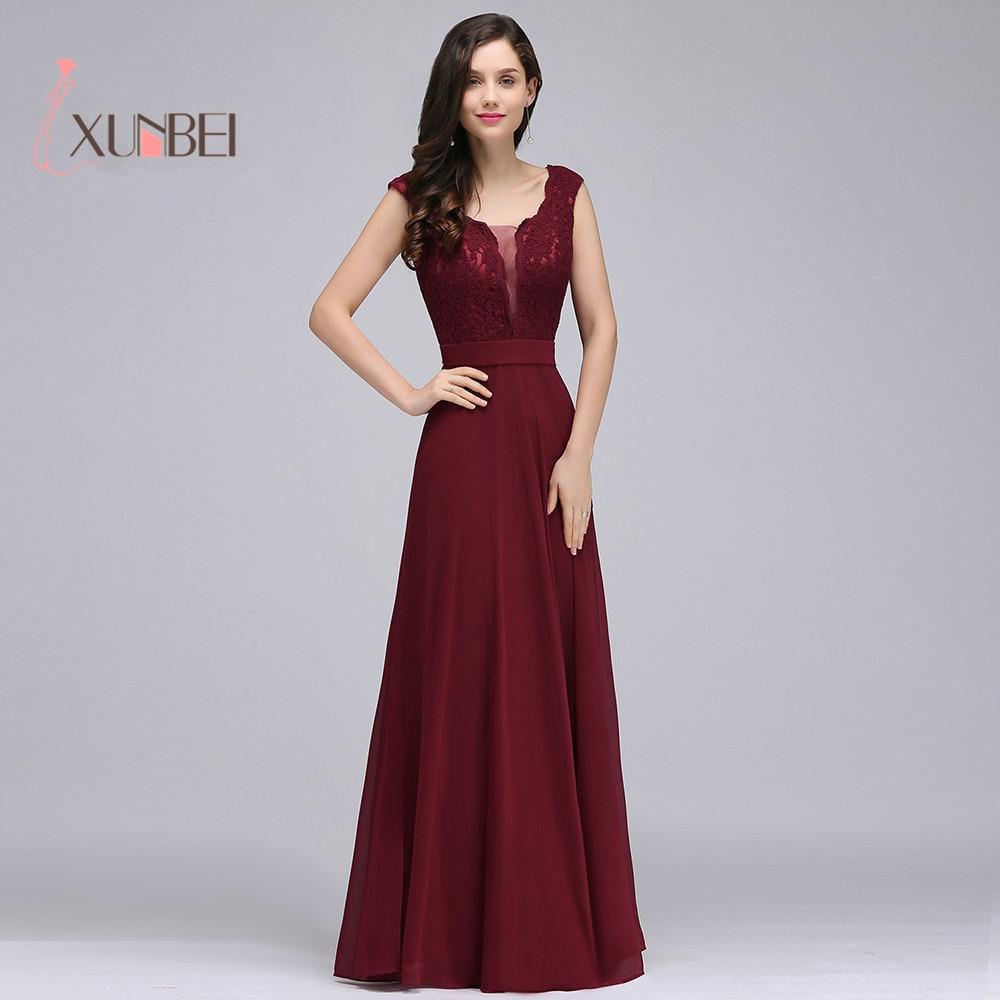 Burgundy Elegant Cap Sleeves Lace Long   Prom     Dresses   2018 Chiffon Formal vestido longo Party Evening   Dresses   vestido de festa