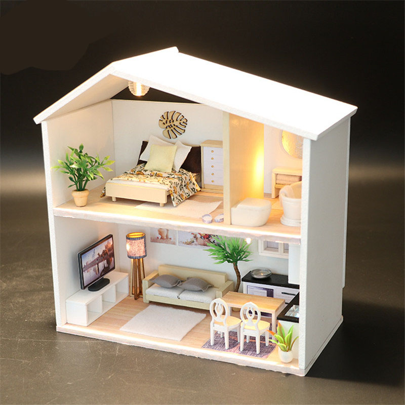 Wooden Doll House Miniature DIY Dollhouse With Furnitures white big size house Dream children girls Birthday Gift