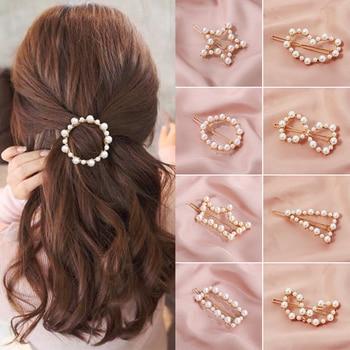 Popular Korea Fashion Initiation Pearl Hair Clip Snap Barrettes