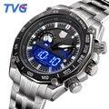 TVG Homens Analógico-digital Relógios de Pulso de Moda de Luxo LED Ponteiro do Relógio À Prova D' Água Masculino Relógio Movimento Do Relógio de Quartzo Cheio de Aço Inoxidável