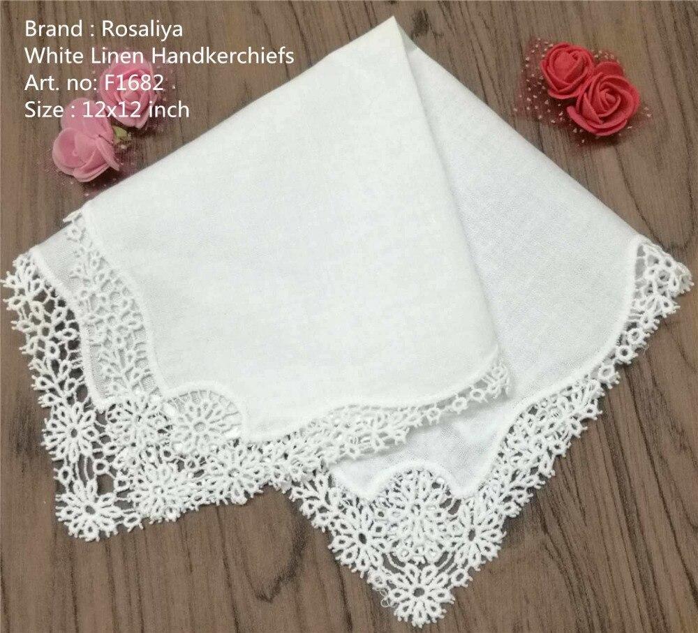 Set Of 12 Fashion Ladies Handkerchiefs Bridal Hankies Wedding Hanky Linen Daisy Crochet Embroidered Lace Handkerchief 12x12-inch